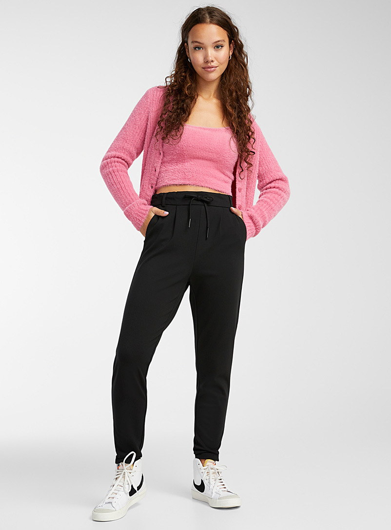 Only Black Solid viscose pant for women