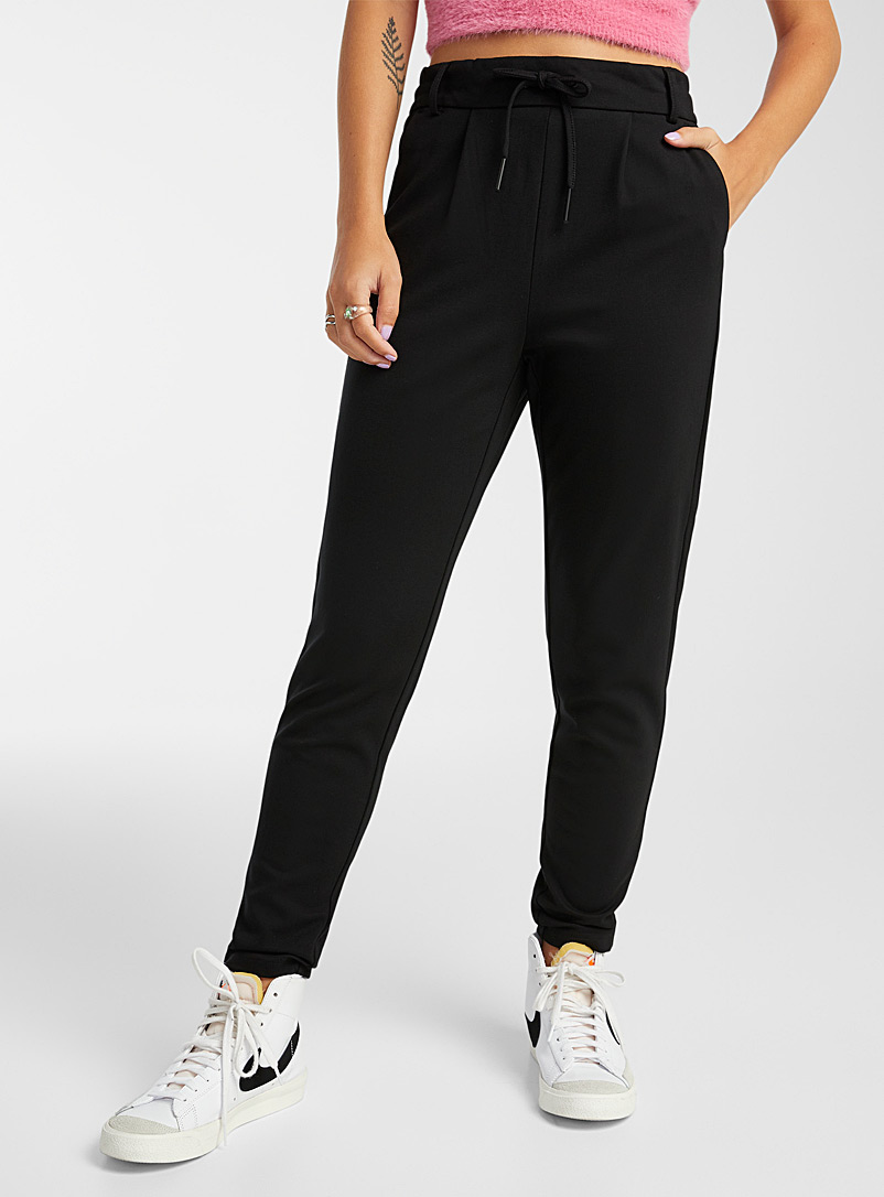 Solid viscose pant - Joggers - Black