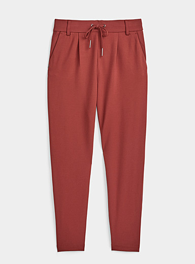 Only Cherry Red Solid viscose pant for women