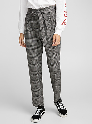 Belted plaid pant