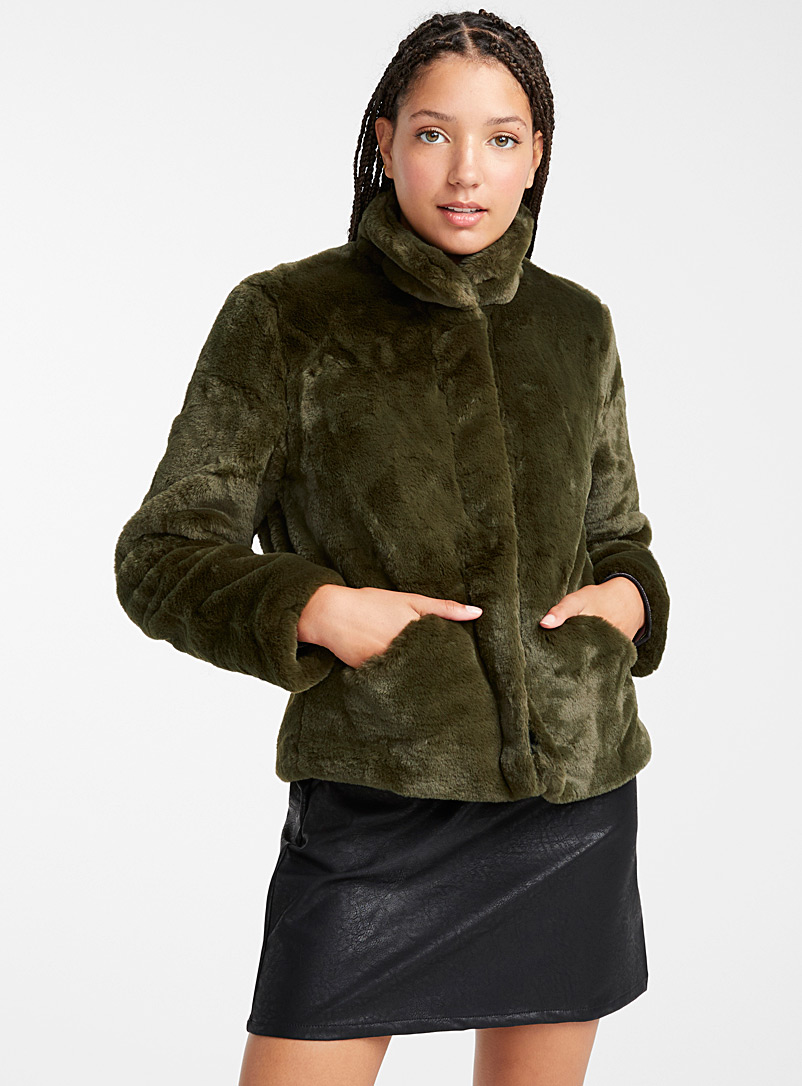 Funky plush coat - Jackets and Vests - Mossy Green