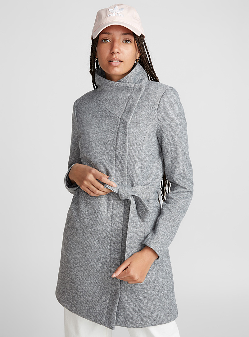 Only Grey Elli asymmetric coat for women