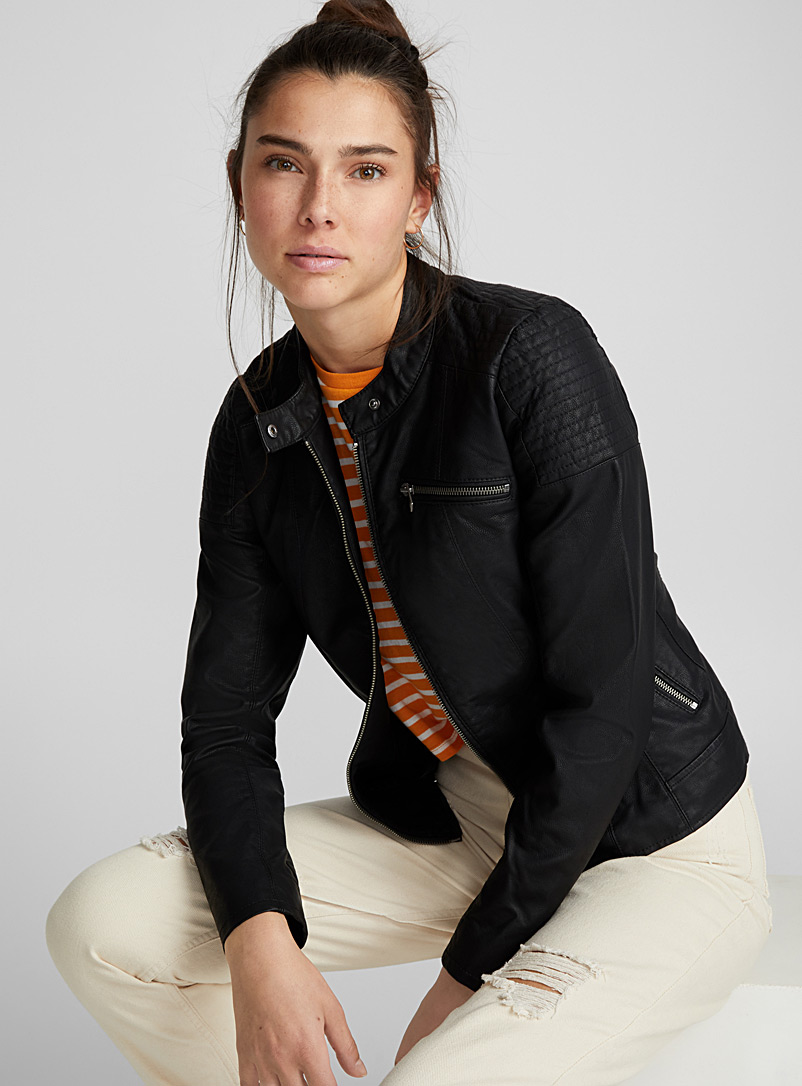 Faux-leather moto jacket - Jackets and Vests - Black