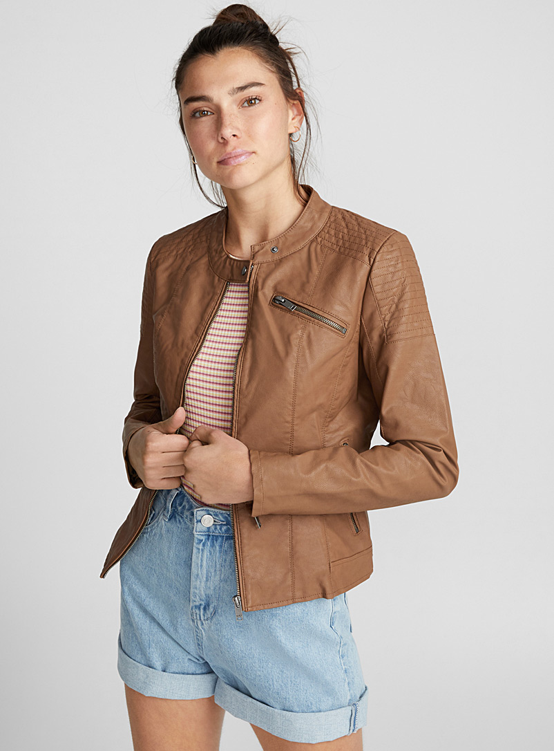 Faux-leather moto jacket - Jackets and Vests - Light Brown