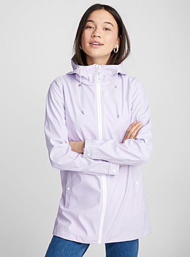 Accent zip raincoat