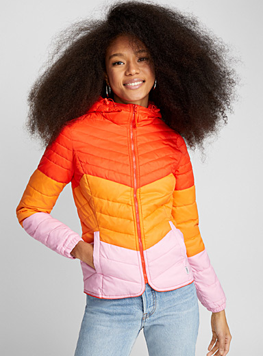 Pop stripe packable puffer jacket
