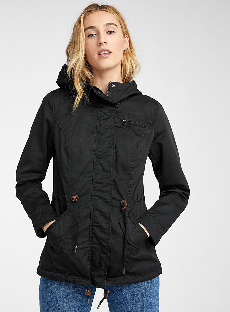 Only Black Pure cotton utility parka for women