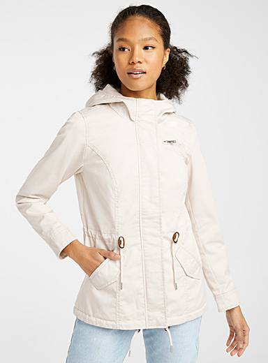 Only Ivory White Pure cotton utility parka for women