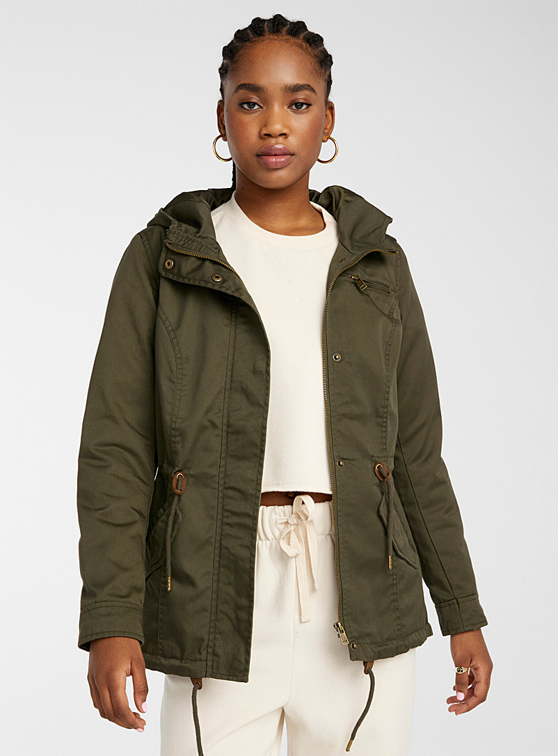 Only Mossy Green Pure cotton utility parka for women