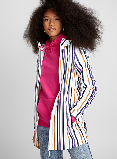 Colourful stripe raincoat