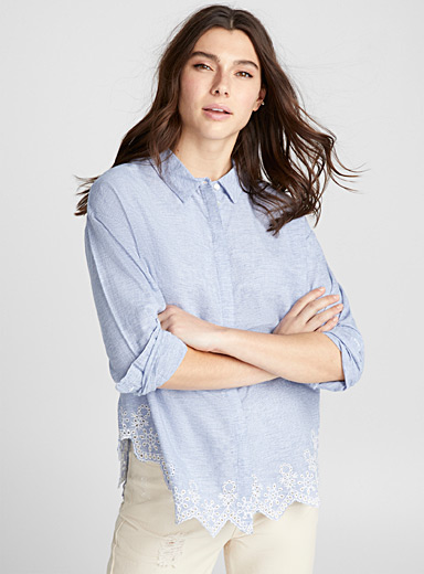 Floral embroidery striped shirt