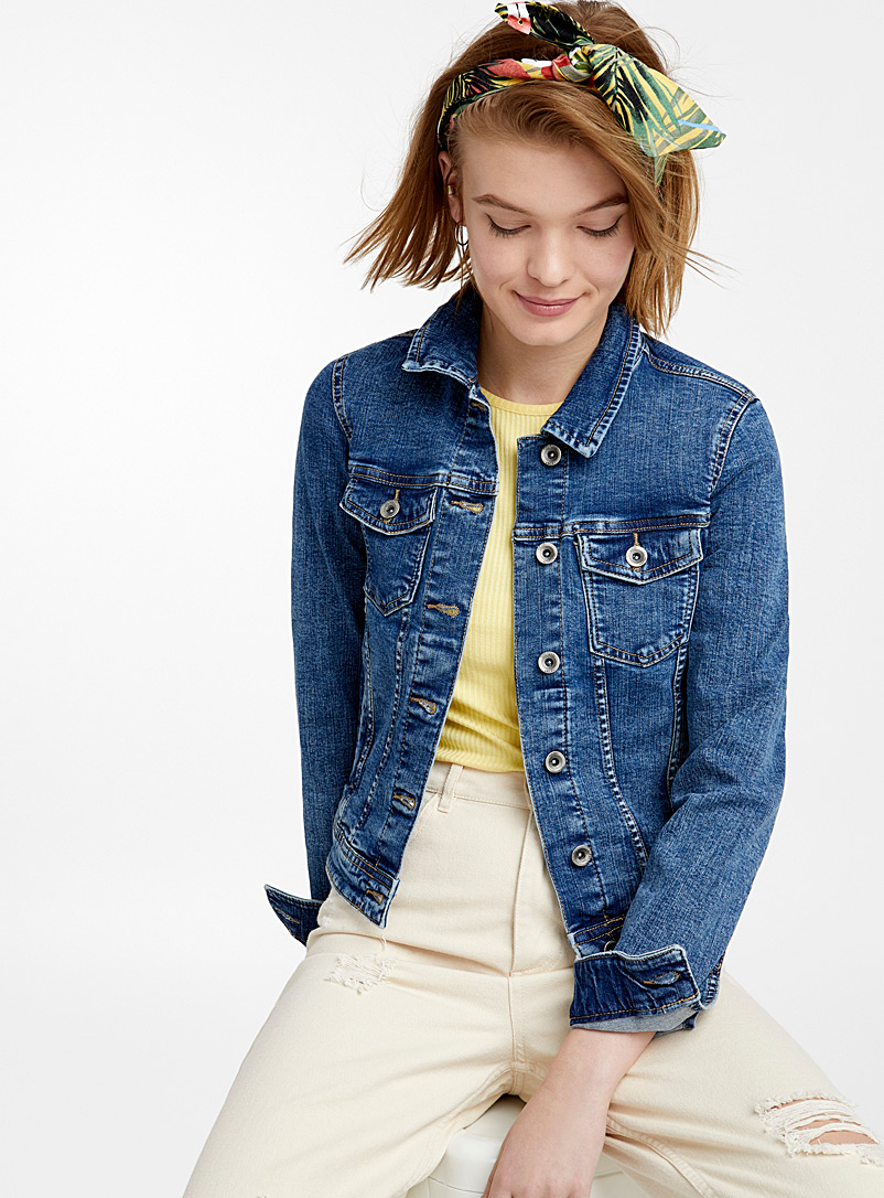 Only Slate Blue Indigo blue jean jacket for women
