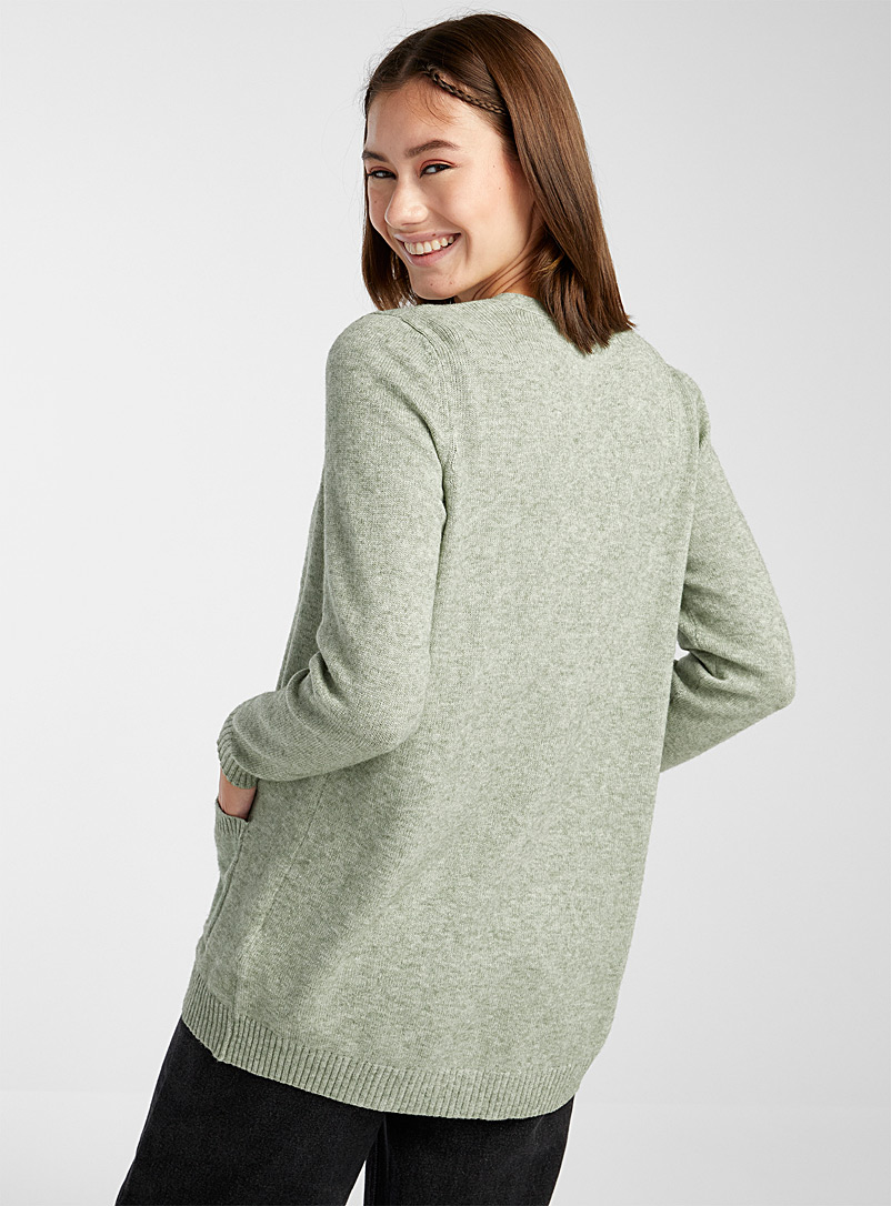 Only Lime Green Patch pocket open cardigan for women