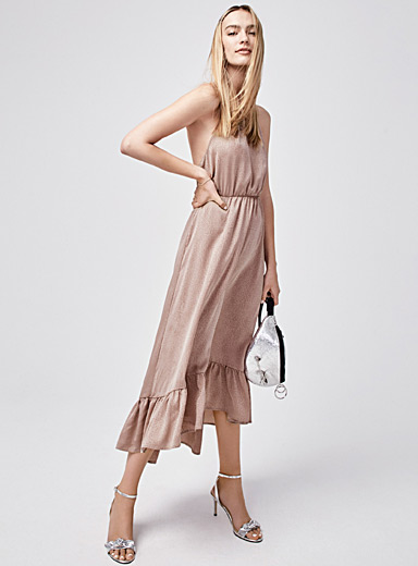 Satiny ruffle halter dress