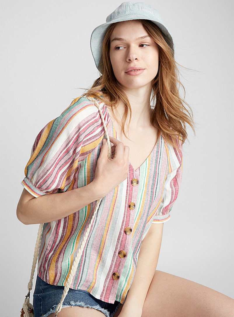 Colourful stripe blouse - Blouses - Pink