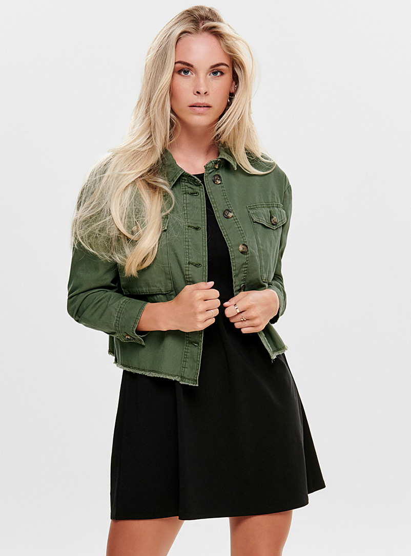 Only Khaki Utility denim jacket for women