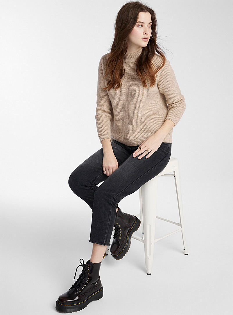 Only Sand Ultra soft ribbed cropped mock neck for women