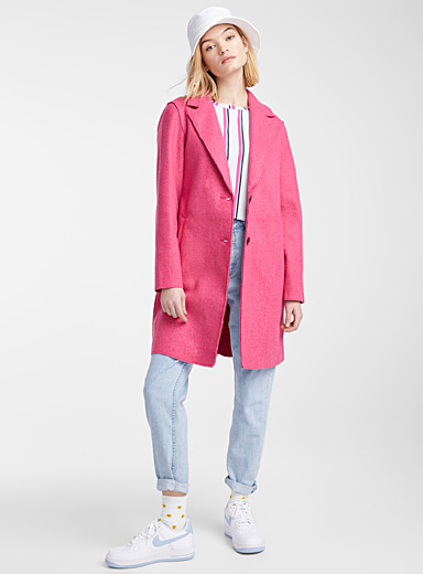 Only Pink Accent seam felt coat for women
