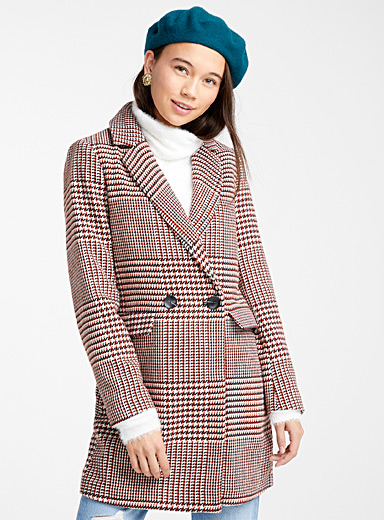 Spicy houndstooth wool coat