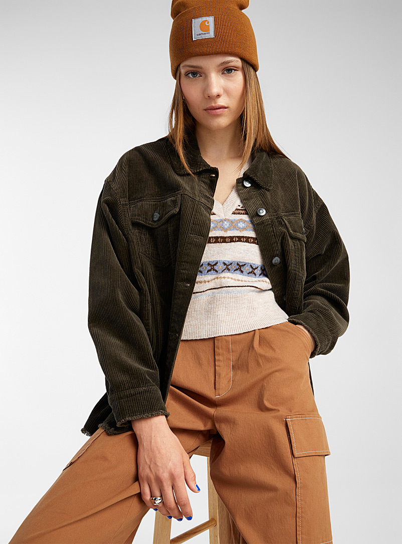 Only Mossy Green Frayed corduroy overshirt for women