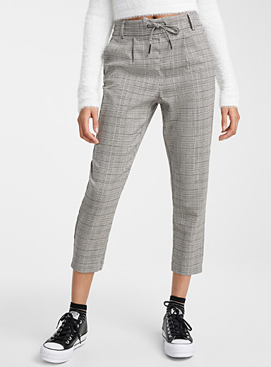 Lace up waist check pant