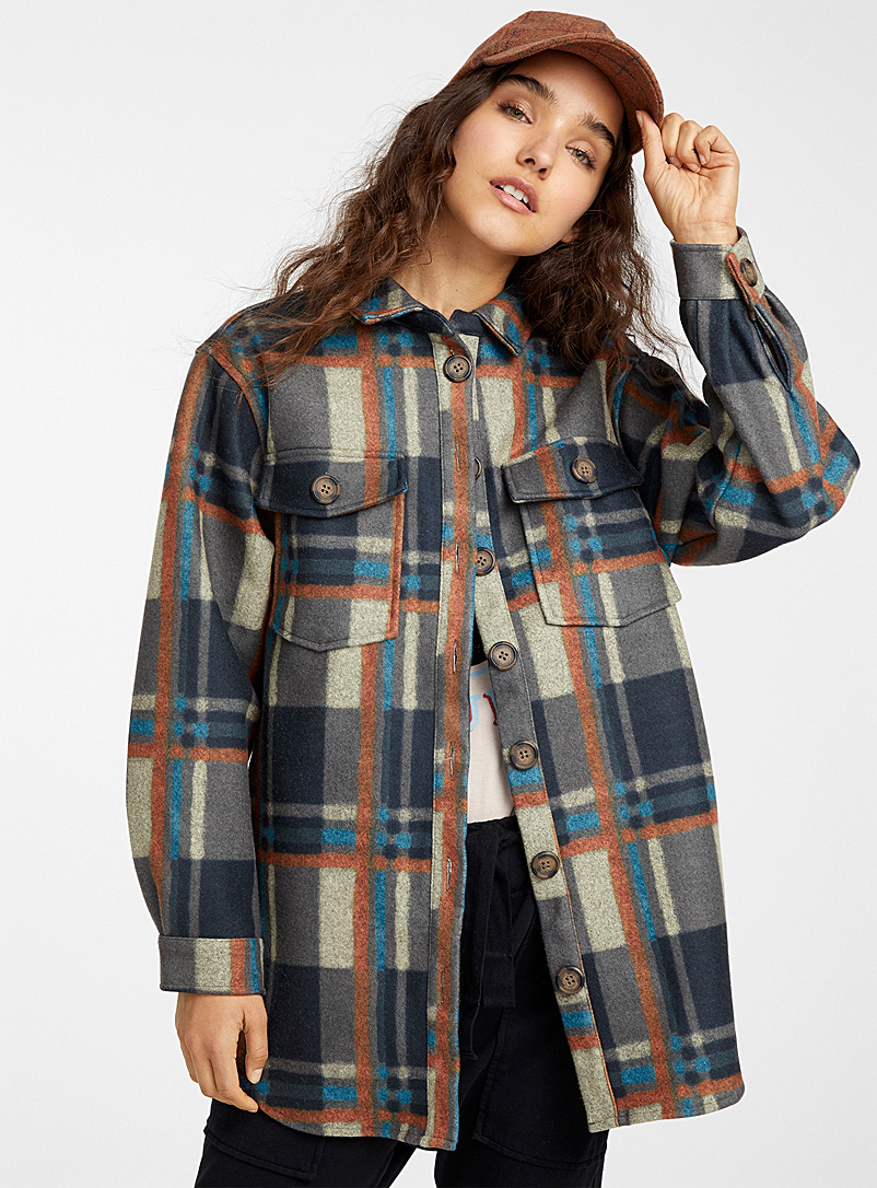 Worker check overshirt - Shirts - Patterned Brown