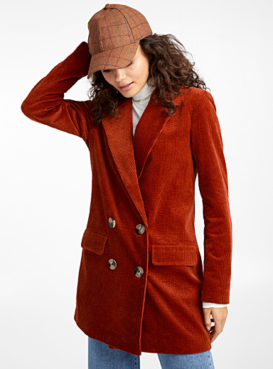 Ribbed double-breasted coat