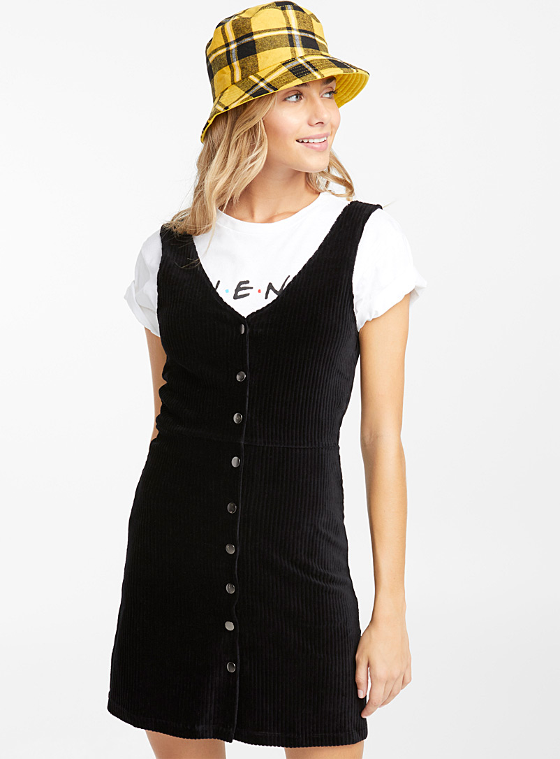 Corduroy buttoned dress - Straight - Black