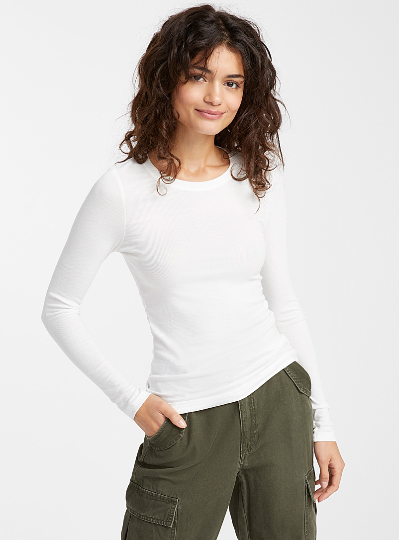 Finely ribbed round neck tee - Long Sleeves - Ivory White