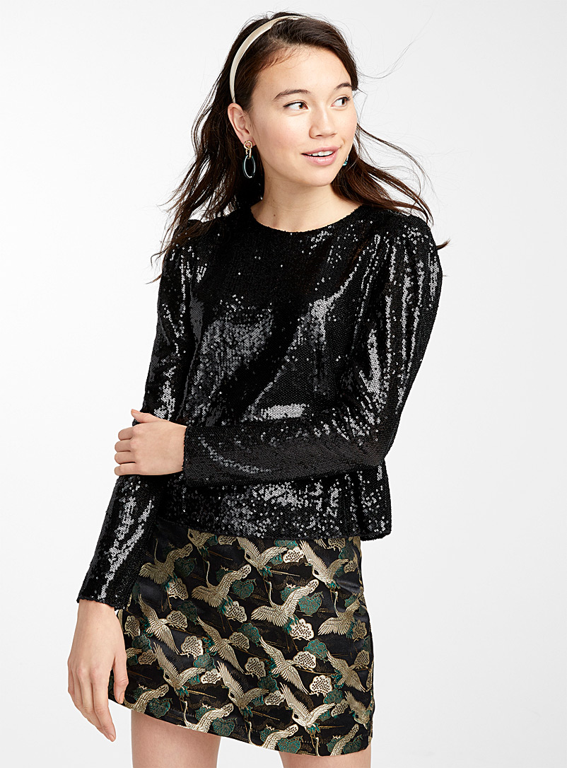 Mirror sequin blouse - Blouses - Black