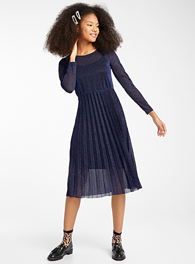 Starry night pleated dress