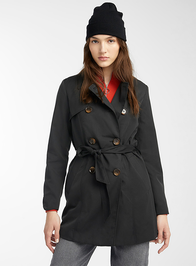 Only Black Valerie double-breasted trench coat for women