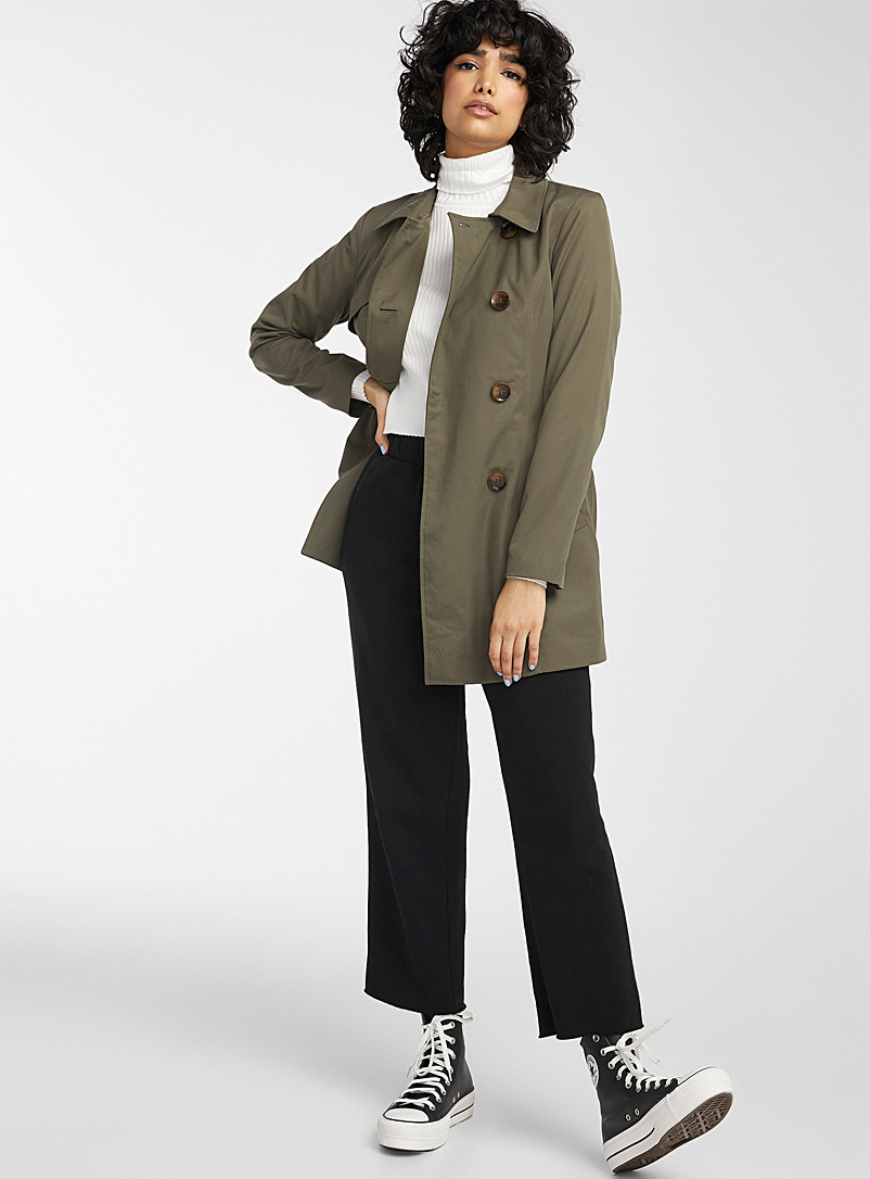 Only Mossy Green Valerie double-breasted trench coat for women