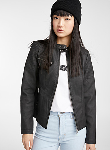Only Black Faux-leather biker jacket for women