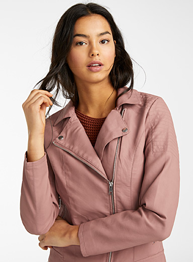 Only Dusty pink  Faux-leather biker jacket for women