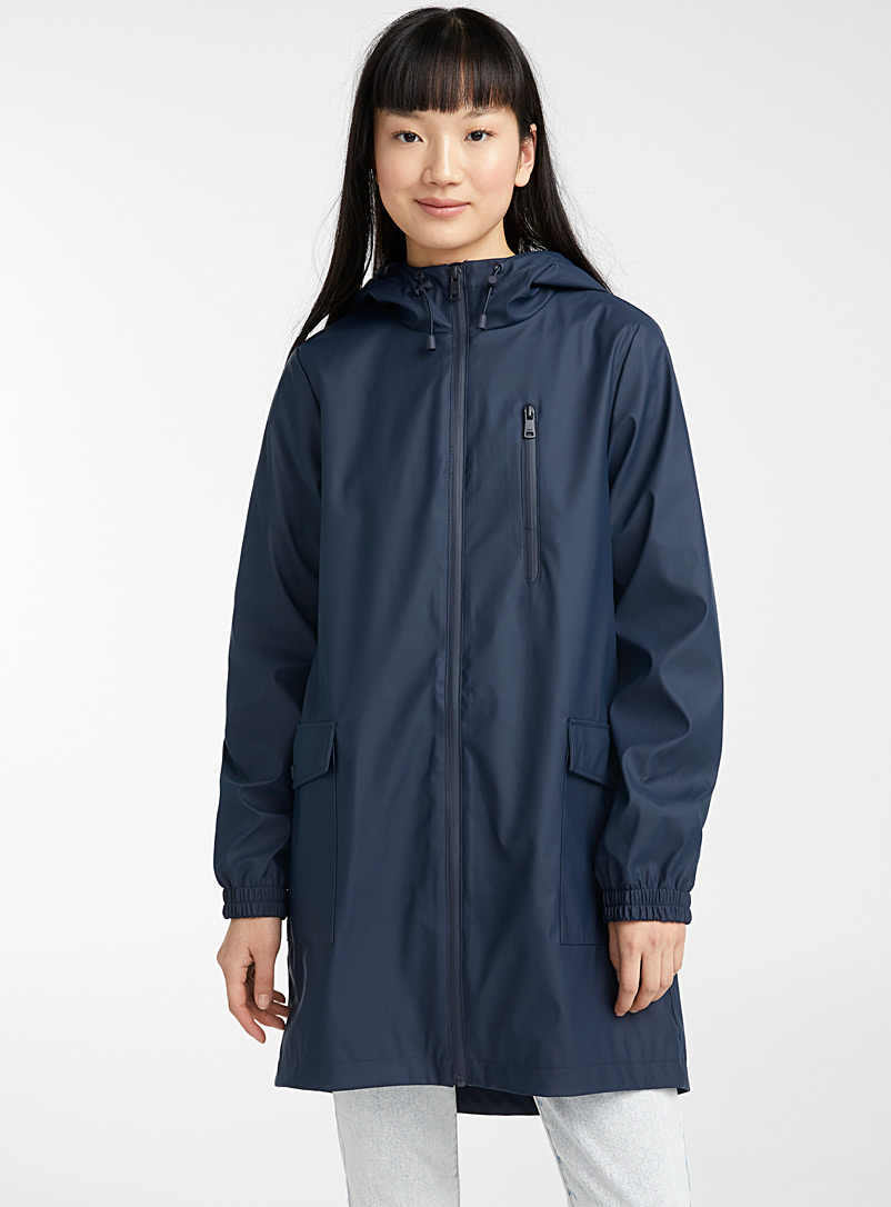 Only Marine Blue Flap pocket raincoat for women