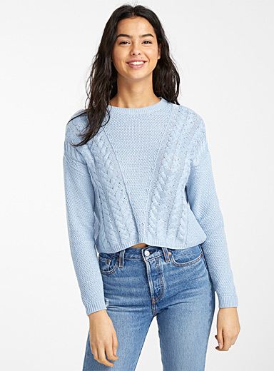 Only Baby Blue Diagonal cable cropped sweater for women