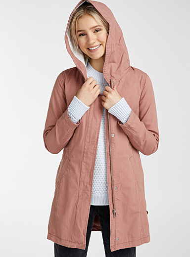 Only Dusky Pink Sedona cotton parka for women