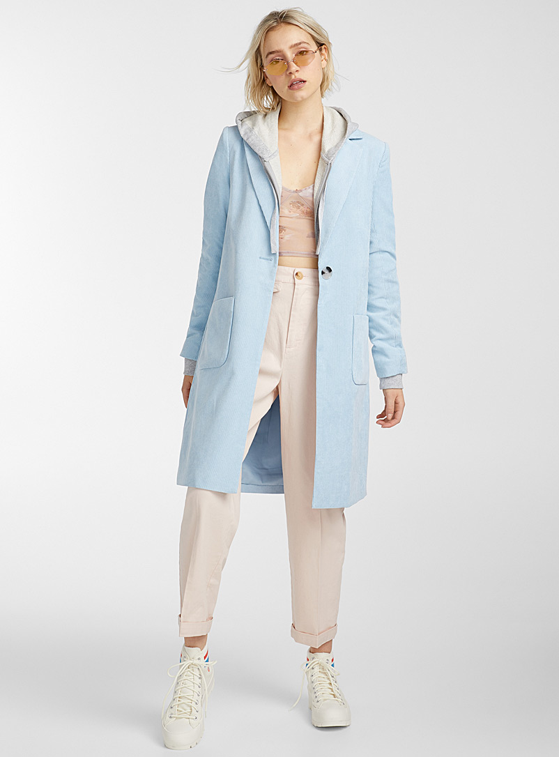 Only Slate Blue Long corduroy coat for women