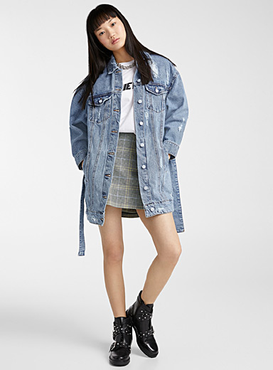 Jones belted jean jacket
