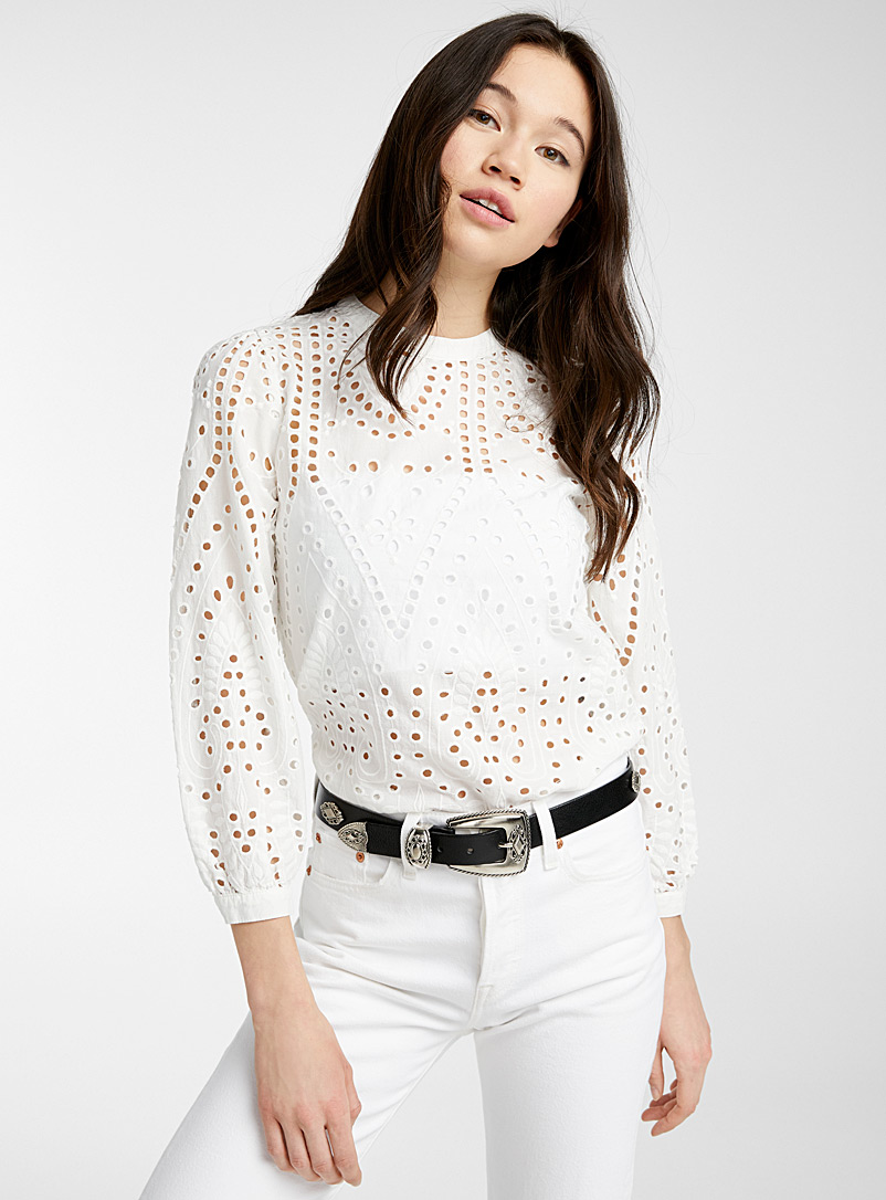 Only White Broderie anglaise blouse for women