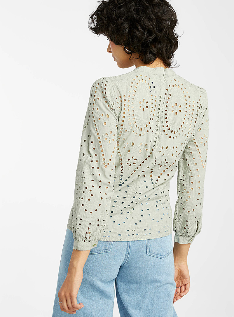 Only: La blouse broderie anglaise Blanc pour femme