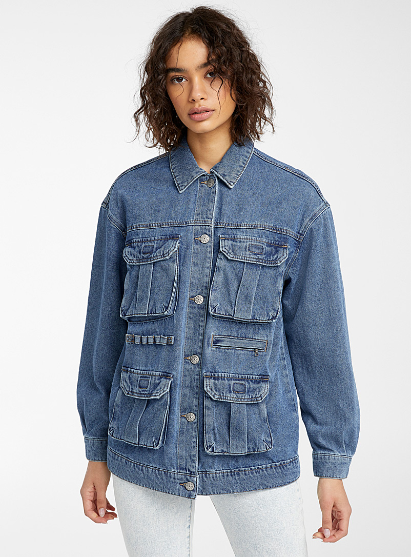 Only Sapphire Blue Utility cargo jean jacket for women
