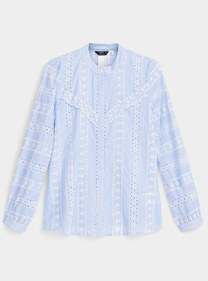 Only Baby Blue Broderie anglaise shirt for women
