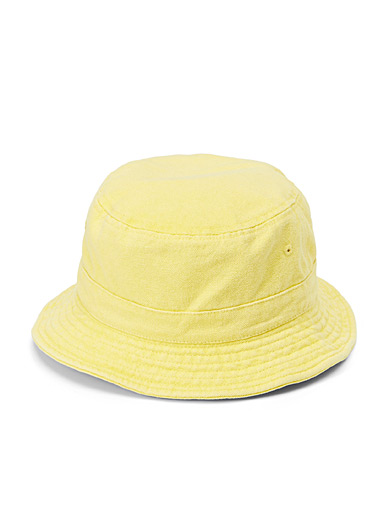 Only Yellow Solid denim bucket hat for women