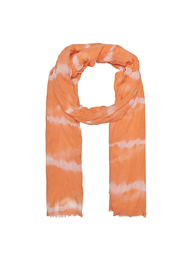 Only Coral Two-tone tie-dye scarf for women