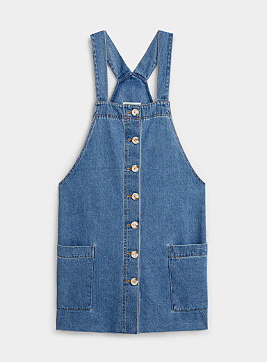 Buttoned denim apron dress