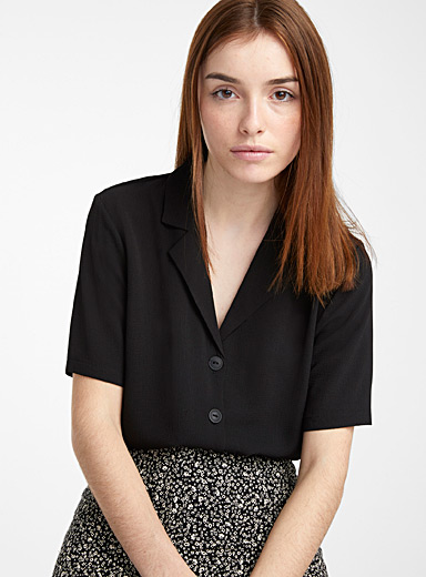 Only Black Waffle bowling shirt for women