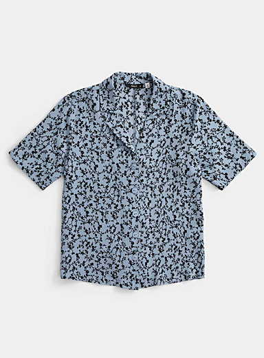 Only Lilacs Dark floral bowling shirt for women