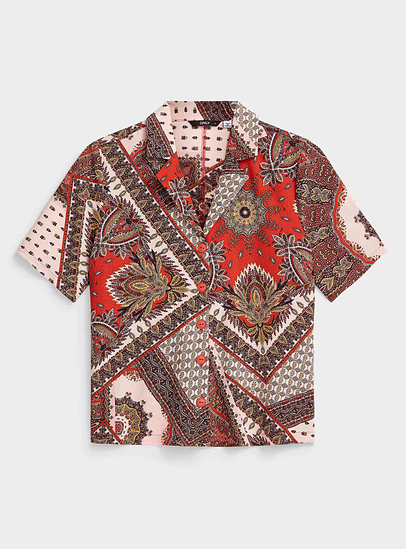 Only Assorted Dark floral bowling shirt for women